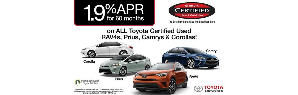 TCUV Lineup APR, APR Financing on Toyota Certified Used Vehicles